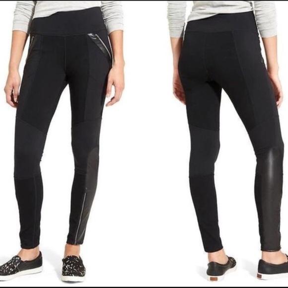 613ba714b9 Athleta Pants | Luxe Ponte Moto Faux Leather Leggings | Poshmark